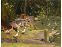 allestree park, derby, a view of ducks in a parkland setting by andrew macara