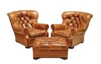 armchairs (pair)(+ footstool, 3 works) by ralph lauren