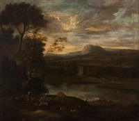 landscape with animals, figurs and houses by dutch school (18)