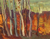hillside with beech trees (hill near land of laziness lake) by arthur george lloy