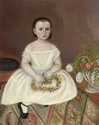 young girl in white dress by joseph whiting stock