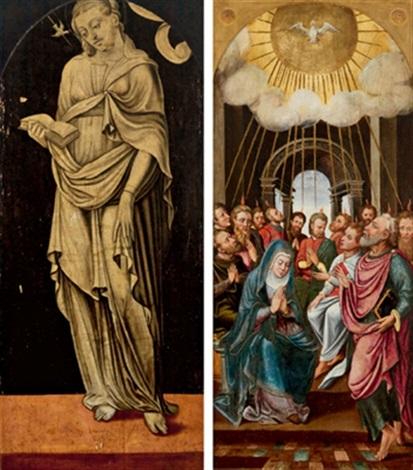 beidseitig bemalte tafel das pfingstwunder maria mit buch und taube als symbol des pfingstwunders verso by lambert lombard