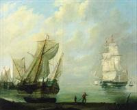 hollaendische segelschiffe vor der kueste by jan hendrik boshamer