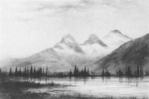 view of the three sisters canmore alberta by walter james baber