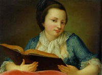 a young lady, half-length, holding an open book by gaetano piattoli the elder