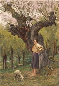 junges mädchen vor einer weide stehend by carl rudolph huber