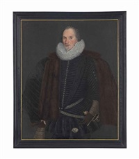 portrait of sir john scudamore (1540-1623), of holme lacy, herefordshire, three-quarter-length, in a black doublet and ruff, and fur-lined mantle by british school (16)