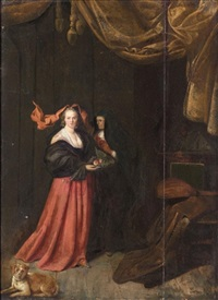 an interior with a young lady holding a plate of fruit together with an elderly lady and a dog resting in the foreground by pieter jacobsz duyfhuysen