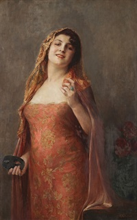 woman with mask by georges (mlle) achille-fould
