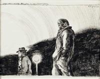 großer mann verfolgt kleineren in der dämmerung, nächtliche polizeistreife in linz (4 works) by fritz aigner