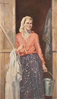 junge bäuerin mit kittel und milcheimer by fedor samusev