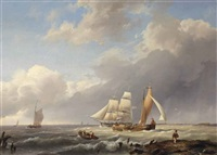 dutch flatboats and a danish two-master on the zuiderzee by hermanus koekkoek the elder