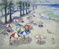 umbrellas on the beach by norman lloyd