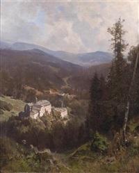 blick in eine weite landschaft mit burganlage by hermann (august) kruger