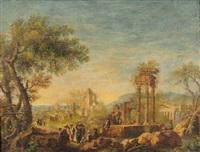 paesaggio con rovine classiche e figure by maria luigia raggi