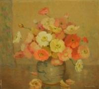 poppies in an oriental vase by erik (sir) langker