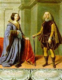 ritratto di don gaston de moncada, baron di castelbò, e di sua moglie by josé (jusepe) leonardo de chavier