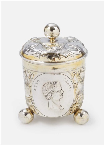 a large silver partially gilt beaker and cover