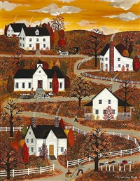 fall landscape with houses on a winding path by jane wooster scott