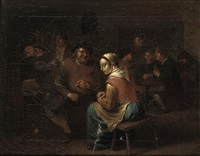 boors making merry in an inn by egbert van heemskerck