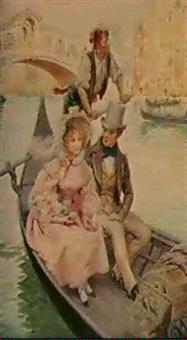 elegant couples in venice by auguste fervel