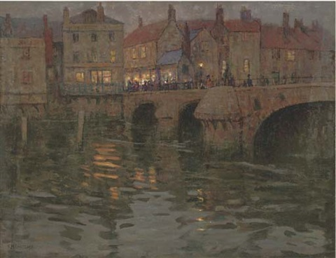 the town bridge on a summers evening by charles herbert eastlake