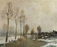 hiver le long de la lys by albert saverys