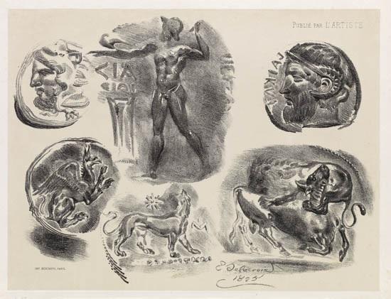 feuille de quatre médailles antiques feuille de six médailles antiques feuille de neuf médailles antiques 3 works from médailles antiques various sizes by eugène delacroix