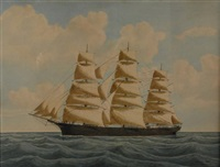 three masted ship by eugene grandin