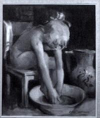 peseytyvä tyttö - flicka som tvättar sig by eeli jaatinen