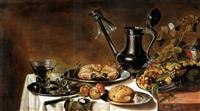 stilleben mit krabbe, zinnkanne und früchten in fayenceplatte by roelof koets the elder