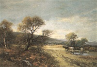 pastoral scene with cattle grazing by w. ashton