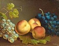 obststilleben mit pfirsichen und weintrauben by vinzenz kreuzer