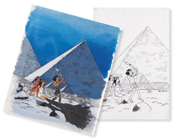 papyrus another india ink and color cover for album le talisman de la grande pyramide 2 works by lucien de gieter