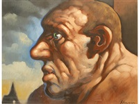 a profile portrait of a man by peter howson