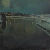 coucher de soleil sur le canal by oscar verpoorten