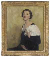 portrait of mrs. dorothy martin in a black dress, ermine stole and jade earrings by maurice f. codner