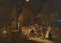 peasants carousing in a barn by cornelisz mahu