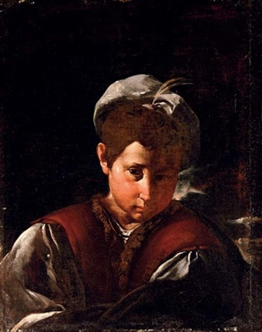 portrait of a boy with a plumed hat by flaminio dagli ancinelli torri