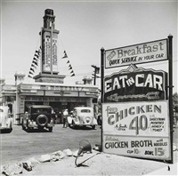 entrance, first drive-in theater, los angeles by john gutmann