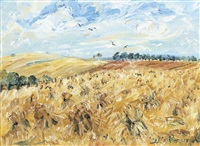 stooks with blackbirds, toolern vale, victoria by celia perceval