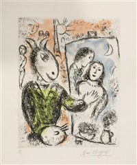 le couple (songes, plache 12) by marc chagall