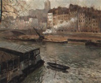 le quai bourbon et l'église st. gervais by germain jacob