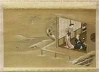 courtisane debout sur une terrasse, dans un paysage de neige et tenant un fil qu'un homme assis devant un chevalet by japanese school-ukiyo-e (18)