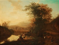 italien landscape with figures and animals by dirk stoop