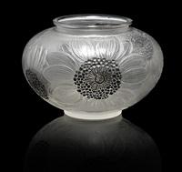 vase: dahlias by rené lalique