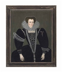 portrait of a lady, three-quarter-length, in a black dress embellished with jewels and pearls, a lace ruff and a pearl headdress by british school (16)