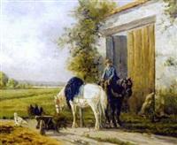chevaux et cavalier devant la porte de la ferme by martinez