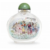 eight deities snuff bottle by liu ziyun