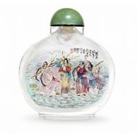 eight deities snuff bottle by liu ziyun